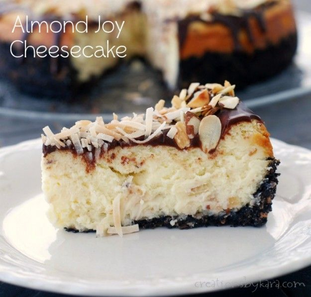 This Almond Joy Cheesecake is decadent, and a little piece of heaven in every bite!