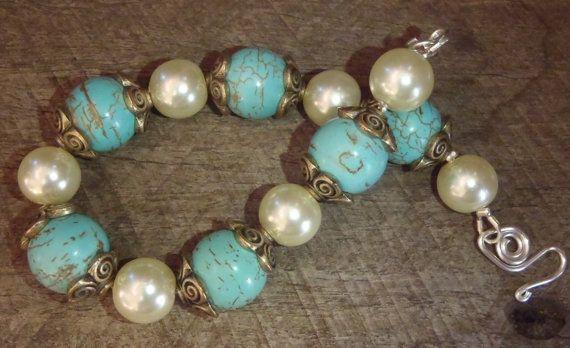 Delicate Confident Bracelet  Turquoise copper by BrigittesJewels, $46.00
