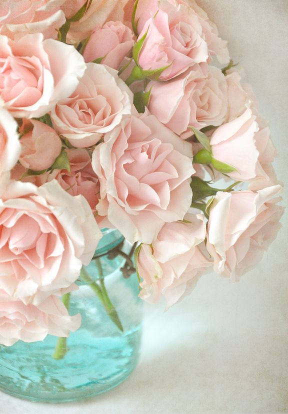 Soft Pink Spray Roses and pale blue vase