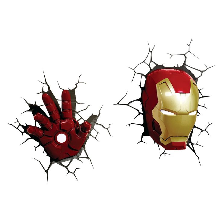 <p><p>Chase the bad guys away with The Avengers 3D Wall Art Iron Man Face Nightlight. This awesome Iron Man night-light makes it look like Iron Man's head is busting through your little guy's wall. So cool! Iron Man's eyes light up to cast a gentle glow. It has a battery-operated LED light and convenient on/off switch. This Avengers night-light is a must-have for any Marvel Comics fan. Uses 3 A...