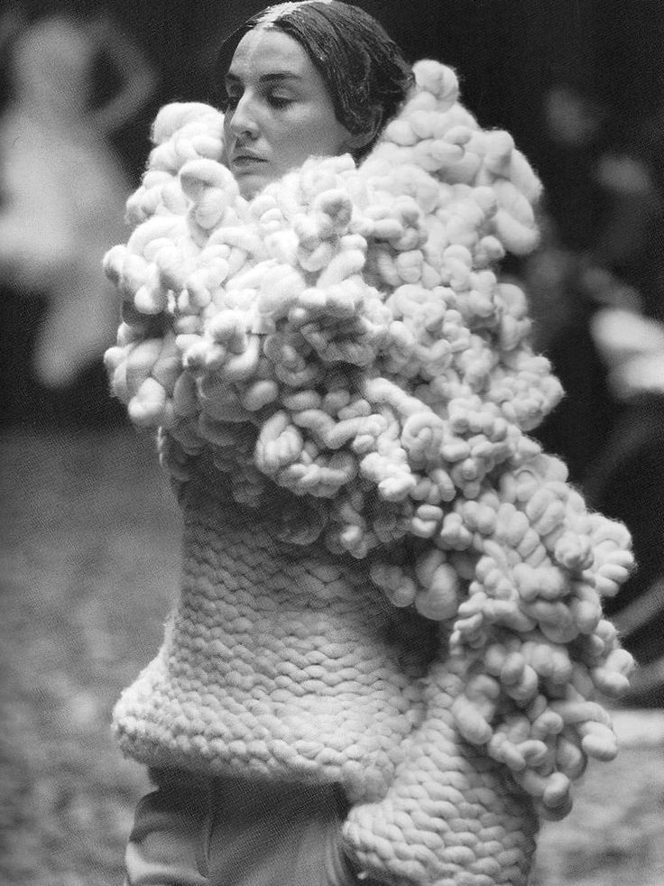 3D Knitwear - chunky sweater with twisted textures - sculptural fashion; wearable art // Alexander McQueen
