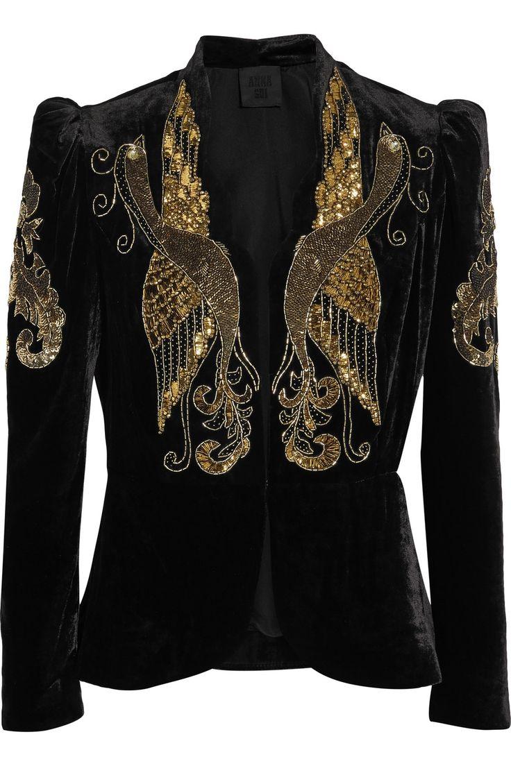 ANNA SUI Phoenix embellished velvet jacket