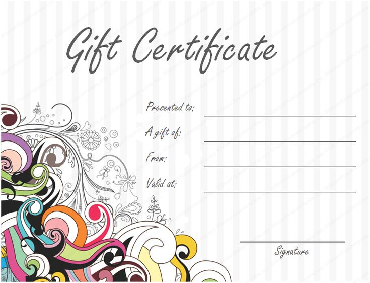 Gift Certificate Template Beautiful Printable Gift Certificate - homemade gift vouchers templates
