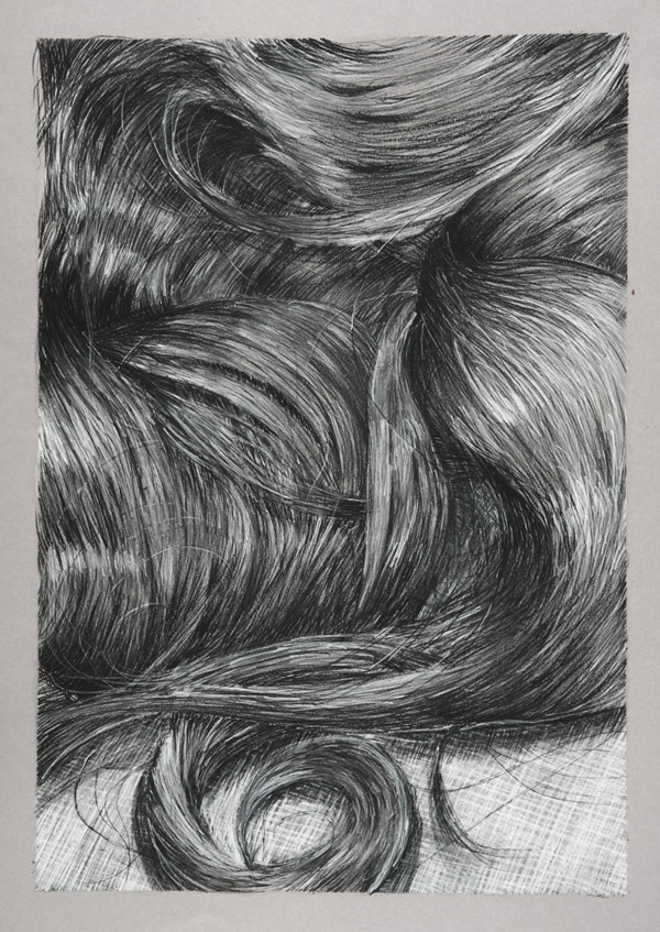It is a photo of Delicate Charcoal Hair Drawing