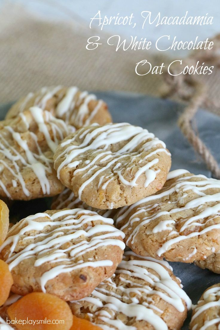 Apricot, Macadamia & White Chocolate Oat Cookies The most delicious Apricot, Macadamia & White Chocolate Oat Cookies EVER. Hands-down my favourite new cookie flavour combination!!