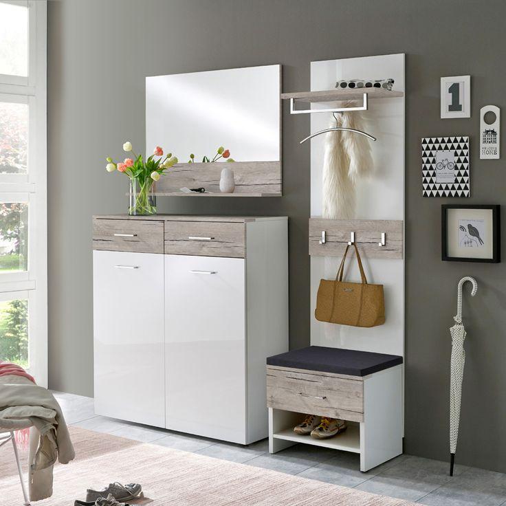 e-combuy Angebote Garderoben Set 4 tlg. SANGA115 Sandeiche Dekor, Weiß Hochglanz lackiert: Category: Garderoben-Sets Item…%#Quickberater%