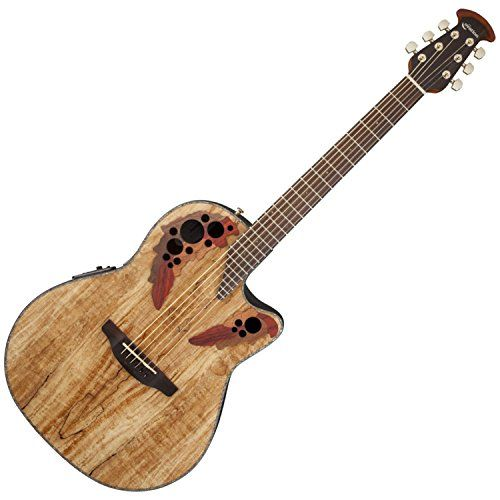 Ovation CE44P-SM Acoustic-Electric Guitar, Spalted Maple with Case and Stand