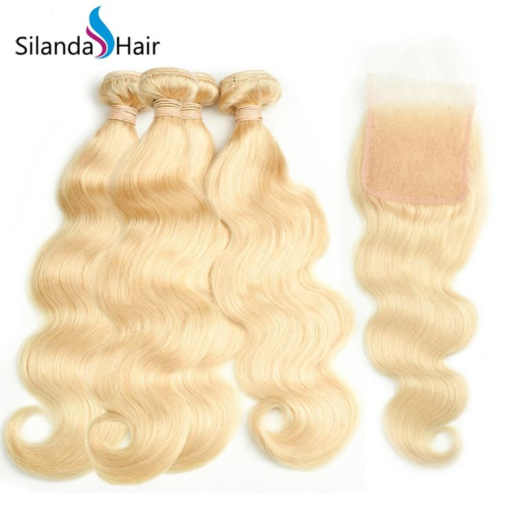 Silanda Hair Nice Pure #613 Body Wave Human Hair Weave Weft 3 Bundles With 4″X4″ Lace Closure