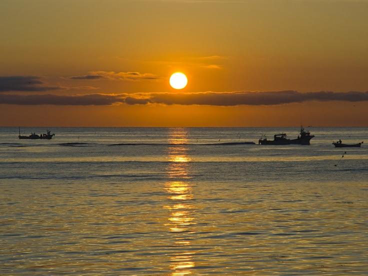 冬の風景、夕暮れ、冷たく透き通った空気のこの季節。湖面を黄金色に染める夕陽