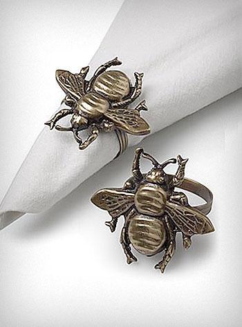 bees! napkin rings! bee napkin rings!