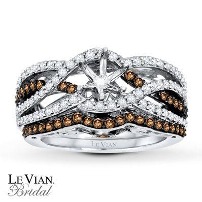 Levian Chocolate Diamonds 7 8 Ct Tw Bridal Setting 14k Gold