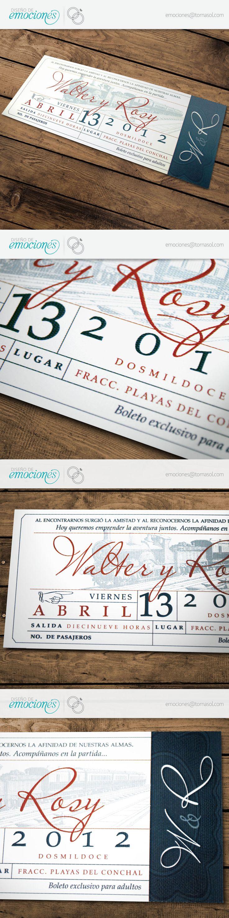Boda Civil   Diseño vintage de invitación para ceremonia civil. Inspirado en la gráfica de los boletos de tren antiguos.