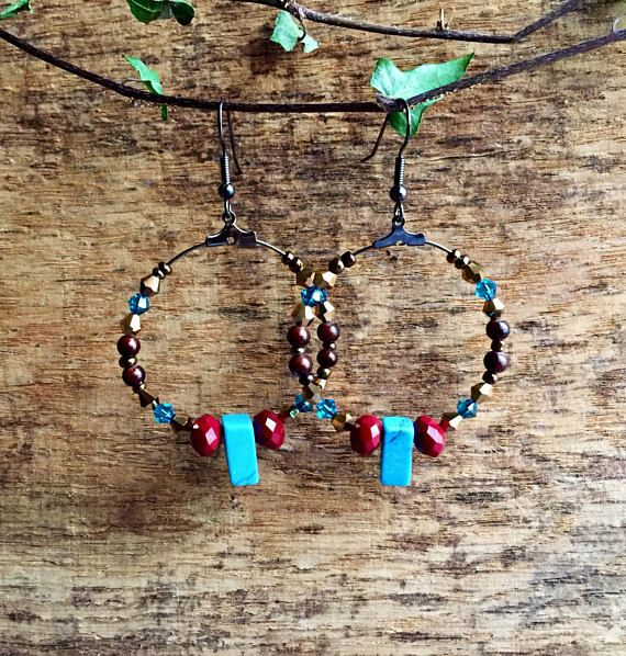 Turquoise hoop earrings, boho earrings, dangle hoop earrings, beaded earrings, gemstone earrings, crystal earrings