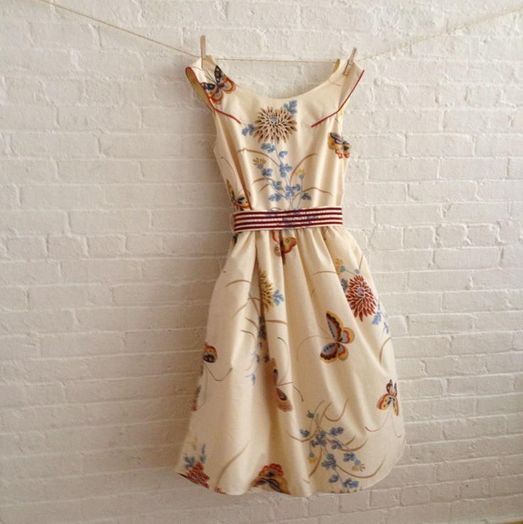 custom tea dress in neutral butterfly. $184.00, via Etsy.