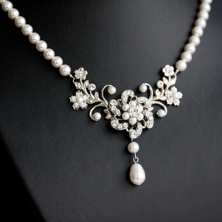 Wedding Necklace, White Pearl necklace, Vintage rhinestone flowers, Swarovski Wedding Jewelry, Sabine Classic.