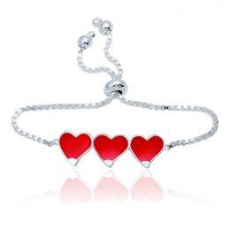Gümüş Üç Kalp Mineli Çocuk Bileklik