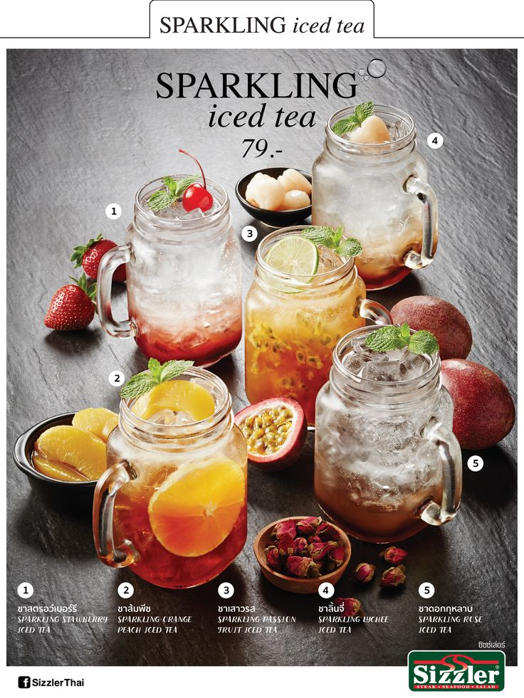 Insert menu - Sizzler Sparkling  ice tea. Design by Wajana