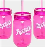 Get bachelorette drinking team sipping jars for your coed or sporty bachelorette party!