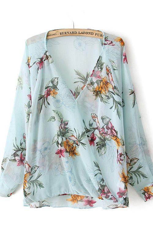 Pale Blue Floral Chiffon Blouse  Fashion, Blouse Outfit, Fashion Outfits-8865