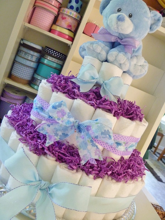 Baby Boy Or Girl Diaper Cake In Shades Of Purple And Blue By  BabyCreationsbyJen, $45.00