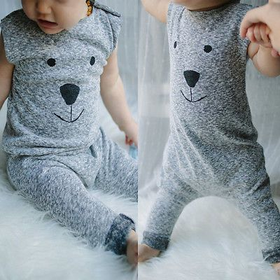 2016 Cute Toddler Baby Girl Boy Bear Jumpers Rompers Playsuit Outfits Clothes 0-24M baby rompers winter coveralls for newborns