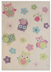 Kinderteppich Eule multicolour pastell 135x190cm