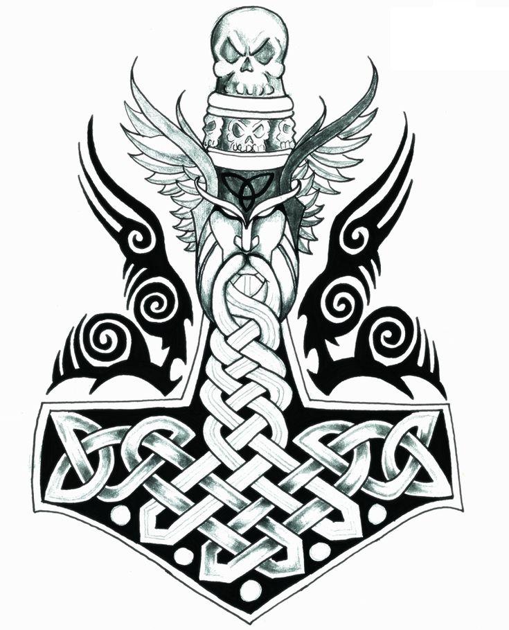 Mjolnir Tattoo Vorlage Thor nordische Wikinger Symbole