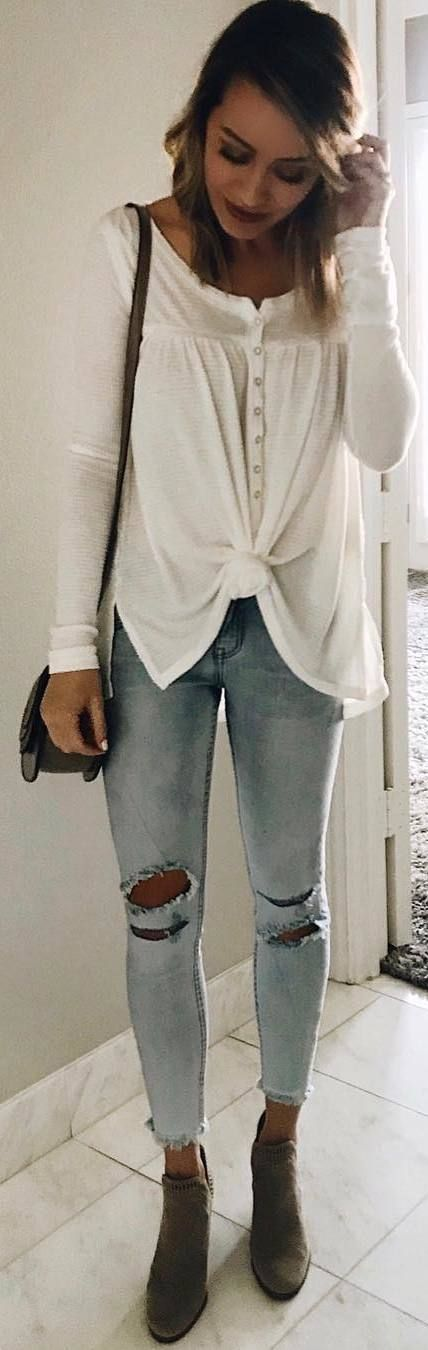 #winter #outfits white top, ripped jeans, brown boots