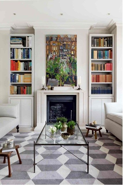 White Living Room with Alcove Bookcases in living rooms on HOUSE by House & Garden. Shelving units built into the alcoves echo the lines of the Portland stone chimneypiece from Jamb