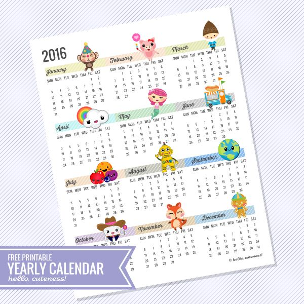 {Free Printable} 2016 Year-at-a-glance Calendar by HelloCuteness.com