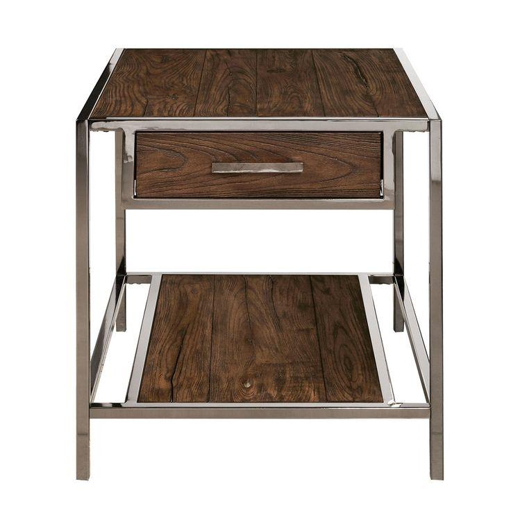 Holloway Wood and Smoked Metal End Table - Brown - Pulaski