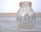 SALE // Halloween Decor GHOSTS Primitive Farmhouse OLD Bottle Apothecary Jar Shabby Cottage Party. $16.00, via Etsy.