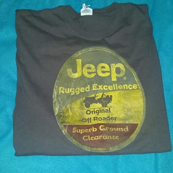 NWOT Jeep shirt size large Brown Jeep shirt in size large. Doesn't fit me but never been worn. Need gone. Make me an offer! Jeep Tops