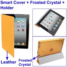 3 in 1 Smart Cover + Frosted Crystal Case + Holder for New iPad (iPad 3) / iPad 2 - Orange - Gudang Gadget Murah