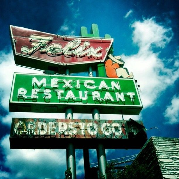 Vintage Felix restaurant sign in Houston, Texas