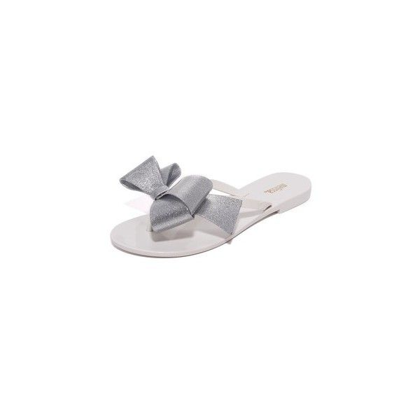 Melissa Harmonic Bow III Flip Flops ($56) ❤ liked on Polyvore featuring shoes, sandals, flip flops, white, melissa flip flops, white bow shoes, white sandals, white shoes and melissa sandals