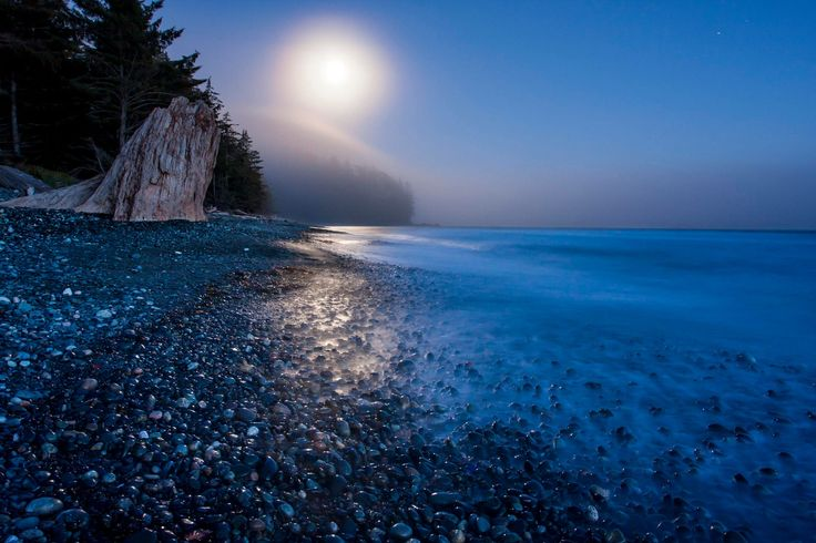 China Beach under moonlight.