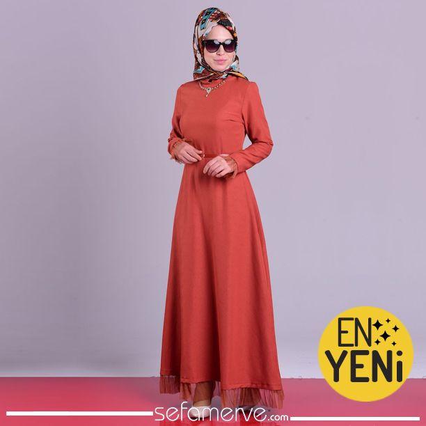 Yeni Ürün !! Kolye Detaylı Tüllü Elbise 3312-03 Taba #sefamerve #tesetturgiyim #tesettur #hijab #tesettür #tunik
