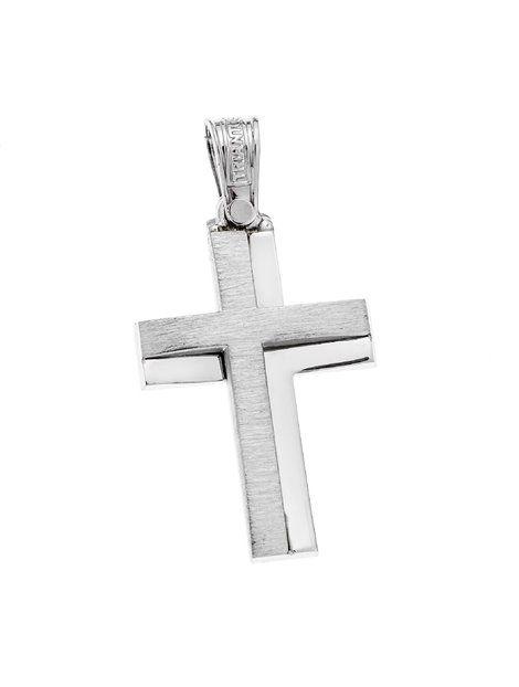 Σταυρός Τριάντος Λευκός 14Κ Αναφορά 021024 Βαπτιστικός σταυρός του οίκου Τριάντος,που μπορείτε να χαρίσετε σε ένα αγόρι ή άνδρα από Χρυσό 14Κ σε λευκό χρώμα.Ο σταυρός μπορεί να συνδυαστεί είτε με αλυσίδα λευκόχρυση είτε με δερμάτινο κορδονάκι στο χρώμα της αρεσκείας σας..