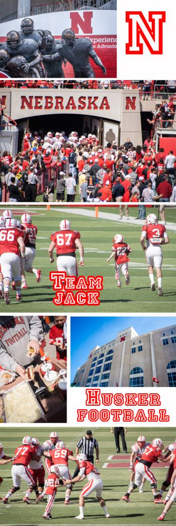 "7 year old cancer patient runs for a touchdown, and scores for the ""Red"" team during the Nebraska Husker Football spring game. It was the best game ever. Support ""Team Jack"" and and Uplifting Athletes and they raise money for pediatric brain cancer."