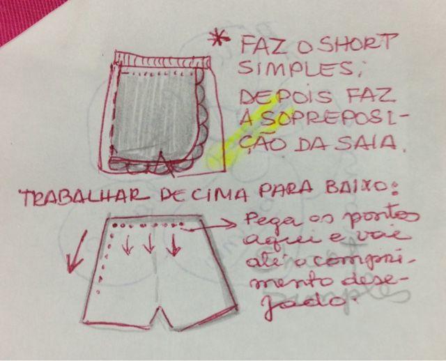 Fiz para minha netinha de quase 4 anos;       PAP Resumido  :   Depois que você fizer o Short simples (veja o PAP em postagens Anteriores...