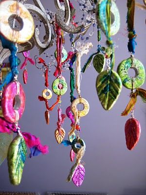Whimsical ornaments - kid could do these and then tie together - origi. art. cool (use salt dough?)