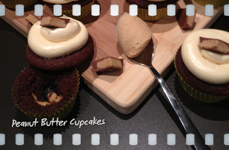 Peanut Butter Cupcakes, peanut butter balls (filling) with Smooth Peanut Butter Frosting - topped with a Reese's pieces