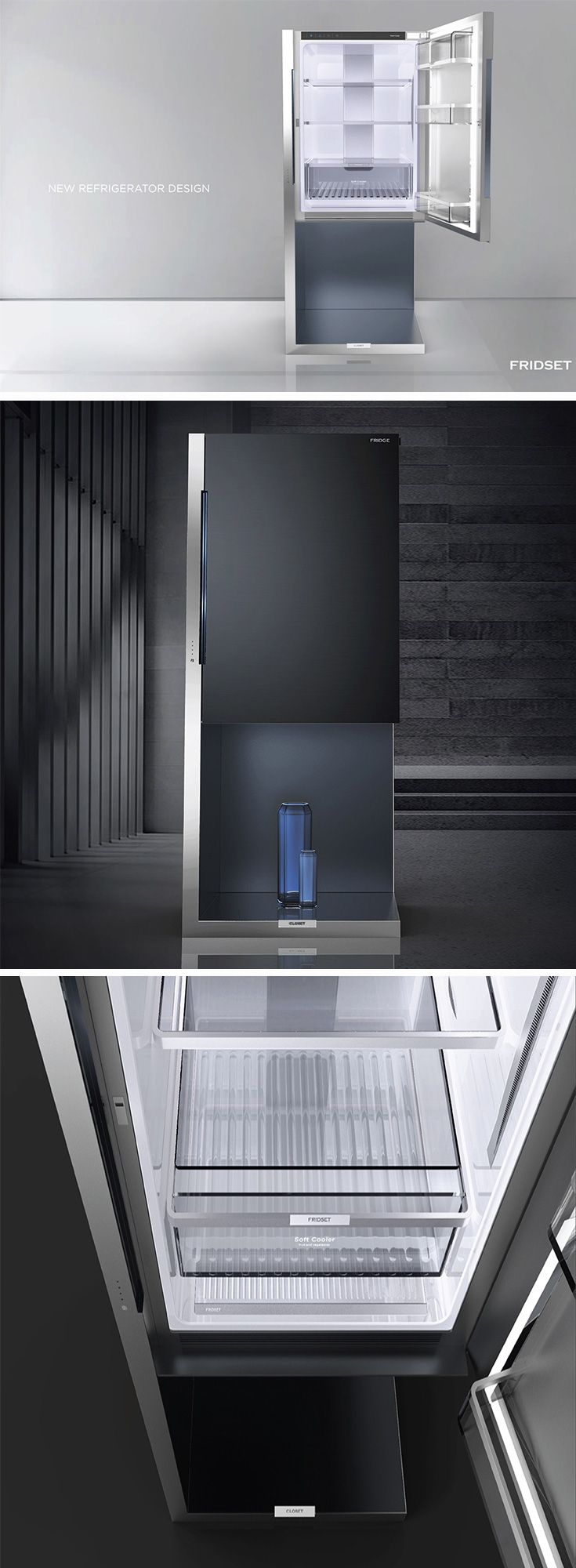 FRIDSET fridge is a cool combination of metal and glass, its stark aesthetic will be right at home as a modern kitchen highlight.