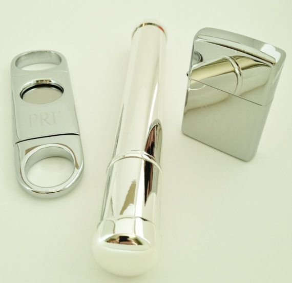 Engraved Silver Cigar Cutter Cigar Tube and Lighter by netexchange, $60.00