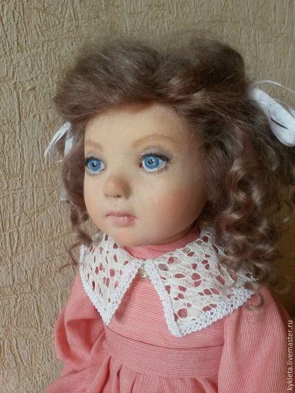 Купить Акция! Кукла из пластика Лизонька - коралловый, белый цвет, кудряшки, девочка, авторская кукла
