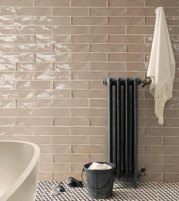 Ceramic Bathroom Tiles Handmade In Italy: Argila Poitiers Latte 3x12 Wall Tile #peronda