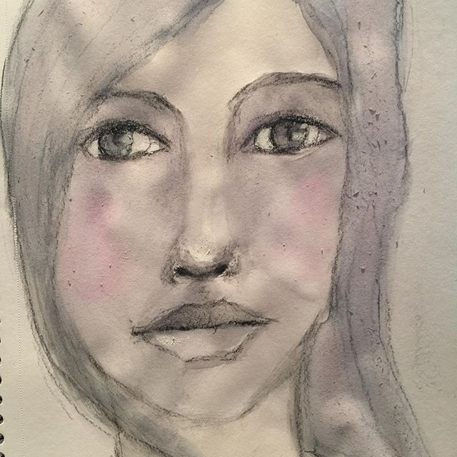 #painting with #watercolor in my #sketchbook... not too #smart! #instaart #drawingaday #kreativ #portraits #fun #besthobbyever #lykkeligkreativ #artsy #artdaily #draw #charcoal #akvarell #aquarelle #arte #artwork