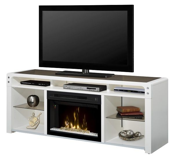 "Dimplex Galloway White electric fireplace media cabinet with 25"" firebox; $1049 cdn."