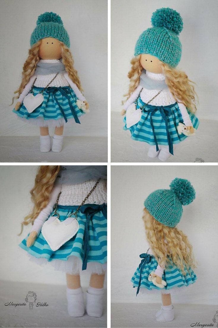 Art doll in handmade green turquoise blonde by AnnKirillartPlace